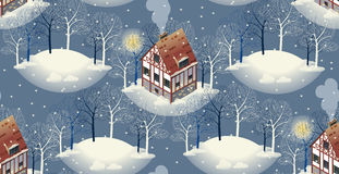 Seamless pattern with cozy european houses. Winter. Flat style  illustration. Stock Photos