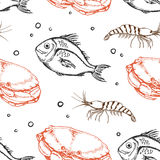 Seamless pattern with crab and fish Stock Images