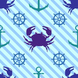 Seamless pattern with crab, steering wheel and anchor Royalty Free Stock Photography