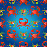 Seamless pattern with crabs on the color waves stock image