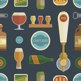 Seamless pattern with craft beer items. Stock Photo