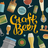 Seamless pattern with craft beer lettering. Royalty Free Stock Images