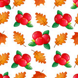Seamless pattern with cranberries. Colorful seamless pattern with cranberries and leaves. Vector Stock Photo