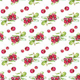 Seamless pattern cranberries. Seamless pattern watercolor paper, textile, fabric, wrapper, wallpaper and cranberries Stock Images