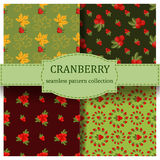Seamless pattern with cranberry. Seamless pattern with cranberry red berry food natural organic texture. Drawing with colored pencils. Gift wrapping cranberry Stock Photo