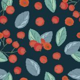 Seamless pattern of cranberry. Vintage illustration of forest berry with torn edges and brush effect. Vector royalty free illustration