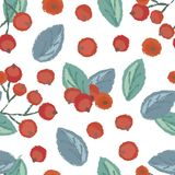 Seamless pattern of cranberry. Vintage illustration of forest berry with torn edges and brush effect. Vector stock illustration