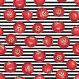 Striped Seamless Pattern with Cranberry. Seamless Pattern with Cranberry on a Striped Black and White Background stock illustration
