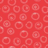 Seamless Pattern with Cranberry. Seamless Pattern. Cranberry with White Contours on a Red Background vector illustration