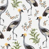 Seamless pattern with crane bird, fern and cranberry. Oriental motif. Vintage hand drawn vector illustration in watercolor style Stock Image