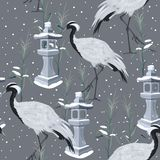 Seamless pattern with cranes and snow stock illustration
