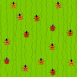 Seamless Pattern with Crawling Ladybugs and Ladybirds. On a Grass-green Background. Plain  texture with swirls curves and Ladybugs Stock Photos