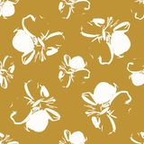 Seamless  pattern with cream sketched flowers with a gold background. Surface pattern design Stock Photos