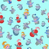 Seamless pattern for children on a mint background. Seamless pattern created by hand with watercolor. After a qualitative image check and preparation in Stock Photo