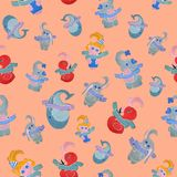 Seamless pattern for children on an orange background. Seamless pattern created by hand with watercolor. After a qualitative image check and preparation in Royalty Free Stock Photos
