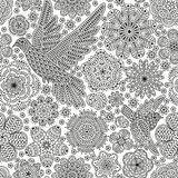 Seamless pattern with creative birds and flowers. Decorative dove and sparrow. Good for wrapping, coloring books, cards, etc. Black and white colors. Vector Stock Images
