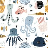 Seamless pattern with creative and colorful fishes, octopus, jellyfish, devil fish,fish hedgehog. Creative undersea childish. Texture. Great for fabric, textile stock illustration