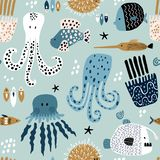 Seamless pattern with creative and colorful fishes, octopus, jellyfish, devil fish,fish hedgehog. Creative undersea childish. Texture. Great for fabric, textile royalty free illustration