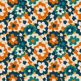 Seamless pattern with creative decorative flowers in scandinavian style