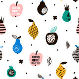 Seamless pattern with creative modern fruits. Hand drawn trendy background. Great for fabric and textile. Vector Illustration.  Royalty Free Stock Photography