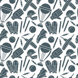 Seamless pattern with cricket game elements Stock Photos