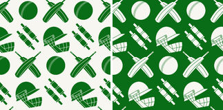Seamless pattern with cricket game equipment. Silhouettes  elements. Professional sport concept and design elements. Great background for sport club or active Royalty Free Stock Images