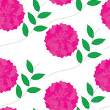 Seamless pattern with crimson flowers and green leaves Stock Photo