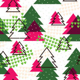 Seamless pattern with Cristmas trees Stock Image