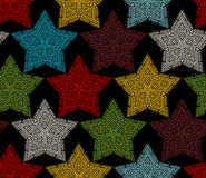 Seamless pattern of crochet stars. Stock Image