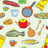 Seamless pattern with crockery. And dishes Stock Images