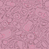 Seamless pattern with crockery and cutlery Stock Photo