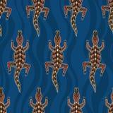 Seamless pattern of crocodiles.Australian art. Seamless pattern of crocodiles with abstract waves on background. Australian art. Aboriginal painting style royalty free illustration