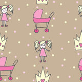 Seamless pattern with crone, pink carriage and doll on beige  Stock Image