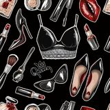 Seamless pattern with crop top, lips, shoes, lipstick, sunglasses, brush. And other royalty free illustration