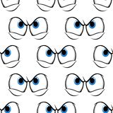 Seamless pattern of cross angry eyes. Seamless pattern of cross angry blue eyes with a menacing frown, cartoon vector illustration  on white Stock Photography