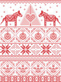 Seamless pattern in cross stitch with Christmas tree, snowflake, Danish style Dala horse decoration, angel, bauble, heart Stock Image