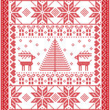 Seamless pattern in cross stitch with Christmas tree, snowflakes, gifts, reindeer,  hearts and ornaments Stock Photo