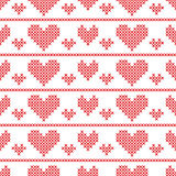 Seamless pattern with cross-stitch hearts Royalty Free Stock Photo