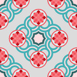Seamless pattern with crossing circles and floral rosettes. Suitable for textile,  paper, decorative purposes. Blue, red, white colors Royalty Free Stock Photo