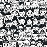 Seamless pattern of crowd different people, woman and man faces. Doodle portraits fashionable girls and guys. Trendy. Hand drawn wallpaper. Black and white Stock Images