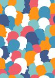 Seamless pattern of a crowd of many different people profile heads Royalty Free Stock Image