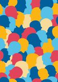 Seamless pattern of a crowd of many different people profile heads Stock Photography