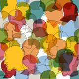 Seamless pattern of a crowd of many different people profile heads Stock Image