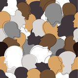 Seamless pattern of a crowd of many different people profile heads. Stock Image