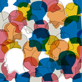 Seamless pattern of a crowd of many different people profile heads. Royalty Free Stock Photos