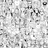Seamless pattern from crowd of people with electronic gadgets Stock Photography