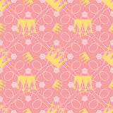 A seamless pattern of a crown with a busy pink background, in the colors of autumn and winter of 2018 and 2019, for girls from 4 t Stock Photography