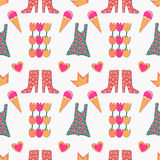 Seamless pattern with crown, heart, boots, dress, flowers. Stock Images