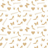 Seamless pattern. Crowns, butterflies, shoes silhouettes. In golden beige. Fashion objects isolated on white. Use as fabrics, wallpaper, background, wrapping Stock Photo