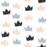 Seamless pattern with crowns. Childish texture for fabric, textile. Vector background Stock Images